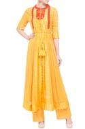 Yellow georgette & viscose silk thread work kurta set