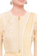 Beige raw silk & georgette thread work anarkali set