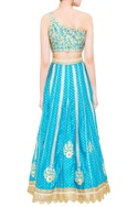 Blue & green brocade gota work lehenga set