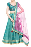 Teal blue chanderi brocade zardozi work lehenga set with pink dupatta