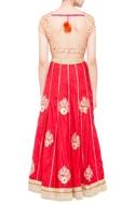Beige & red brocade & silk lehenga set with orange dupatta