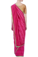 Pink kilim flat-weave sari with unstitched blouse fabric