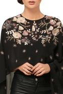 Black embroidered high-low cape