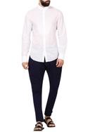 White cotton pixel textured yoke shirt