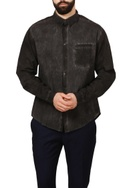 Charcoal grey & black distressed dyed shirt