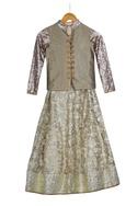 Cream & bronze sequence jacket with lehenga