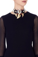 Multi-colored leather crystal akaibara choker necklace