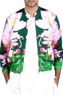 Flower printed bomber jacket