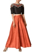 Chanderi silk embroidered crop top with palazzos
