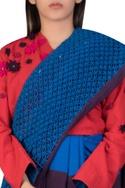 Color-block khadi sari with macrame work