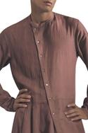 Asymmetric hemline kurta with side button placket