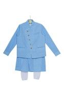 Threadwork kurta with waistcoat and churidar