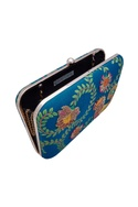 Turquoise blue hand painted clutch