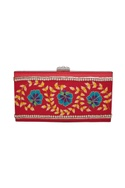 Floral hand painted and embroidered box clutch