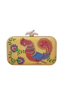 Parrot & floral motif embroidered clutch