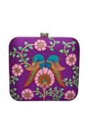 Embroidered brocade square box clutch