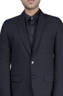 Leather detailed shirt with jacket & trousers