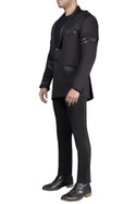 Mesh with leather detailed athlesiure assymetrical jacket and pant