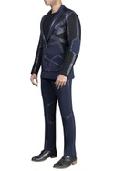 Mesh with leather detailed athlesiure  jacket and pants with t-shirt