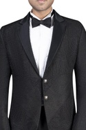 Embroidered double button jacket with shirt, trousers and bow tie