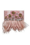 Embroidered clutch with feather detailing