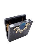 Satement box clutch with embellishments