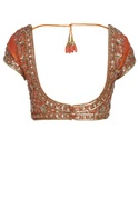 Embroidered saree blouse with cap sleeves