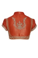 Embroidered shirt style saree blouse
