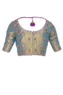 Embroidered saree blouse with zippered closure