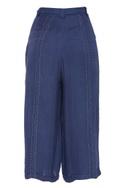 Cotton dobby wide leg cropped pants