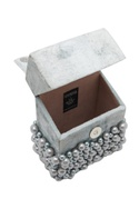 Shell pearl embellished box clutch