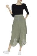 Crinkled cotton draped pants