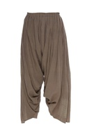 Pleated crinkled cotton pants