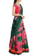 Lotus printed lehenga with blouse & brocade dupatta