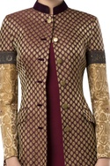 Brocade over jacket with embroidered sleeves