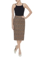 Leopard printed smoked effect pencil skirt