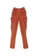 Trousers with 3D floral work