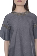 Embroidered tulip sleeve top