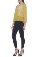 Double layer embroidered top
