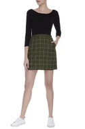 Embroidered checkered mini skirt