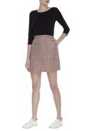 Checkered embroidered mini skirt