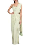 Hand embroidered draped sari