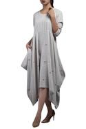 Oversized striped dress with asymmetric hemline