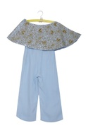 Embroidered crop top with flared pants
