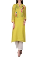 Hand embroidered cotton silk kurta