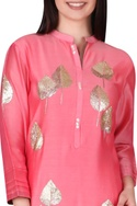 Leaf motif hand embroidered tunic
