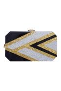 Hexagonal silver & gold glitter embellished clutch