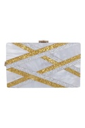 Gold & silver embellished box clutch