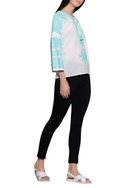 Tulip sleeves embroidered top
