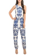 Fitted jumpsuit with abstract print